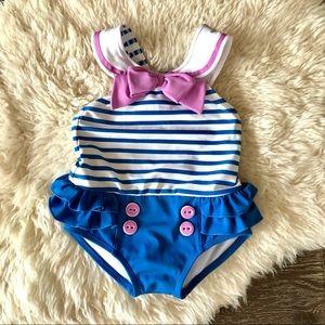 4/$20 Gymboree girls nautical ruffled swim suit